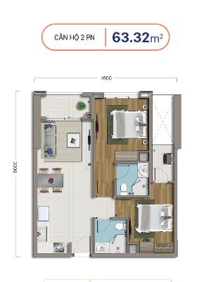 thiết kế căn hộ 2 phòng ngủ richstar