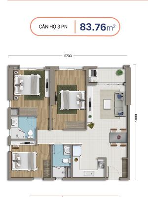 căn hộ 3 phòng ngủ dự án chung cư richstar