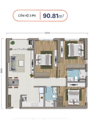 căn hộ 3 phòng ngủ chung cư richstar